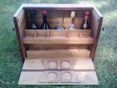 Reclaimed Mahogany and Black Walnut Portable Bar. Open revealing two removable cocktail glass trays and space for four bottles and a cocktail set. Crafted by L. Design Reclaimed.