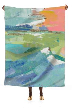 "Waterfront Silk Scarf, now available at Print All Over Me. 42"" x 57"" 100% Silk"