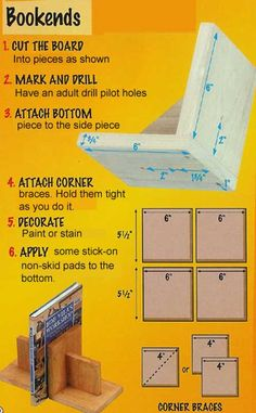 Simple bookends to make with scouts    http://pack152.net/Webelos/WebelosActivityBadges/Craftsman/Bookends.jpg