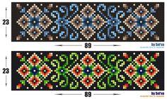 Scheme - 'Forest carvings' by aka-Selva on DeviantArt Bead Loom Bracelets, Beaded Bracelet Patterns, Bead Loom Patterns, Peyote Patterns, Beading Patterns, Cross Stitch Patterns, Beaded Embroidery, Cross Stitch Embroidery, Beaded Banners