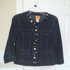 Jacket Cute little short jean jacket with black and silver embelishments around collar and down front of jacket. Ruby Rd Jackets & Coats Jean Jackets
