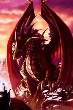 .ruby scaled dragon with onyx eyes