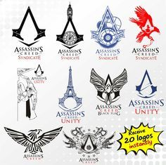 Assassins Creed Saga logos collection, 20 clipart images by direct download, Get 20 SVG, eps, PNG and AI editable files with Full detail by fivedollarsvector on Etsy