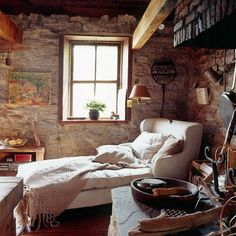 love the chaise lounge (or is it a bed?) -- nice against the rustic background Cozy Place, My Dream Home, Provence, Living Spaces, Living Room, Sweet Home, Lounge, House Design, Garden Design
