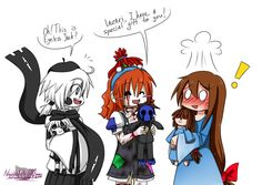The first time I drawed it with characters from Creepypasta! Nobody, except Slenderman, don't know that the little girl made doll. Lazari Creepypasta, Creepypasta Girls, Eyeless Jack, Funny Cartoons, Funny Comics, Chibi, Nf Real Music, Creepy Pasta Family, Creepy Art