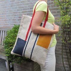 Tote bag Mondriaan nr.3 made from an antique European by rinarts
