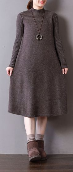 25bd850e07 New chocolate knit dresses oversize high neck spring dresses baggy long  knit sweaters