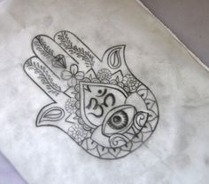 Hand of Fatima. with Om symbol tattoo. I want this so bad! Love Tattoos, Body Art Tattoos, New Tattoos, Small Tattoos, Tattoos For Guys, Tattoos For Women, Script Tattoos, Arabic Tattoos, Dragon Tattoos