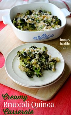 Creamy Broccoli Quinoa Casserole.... so decadent, you'll never guess this is low calorie!