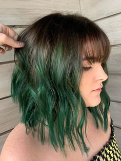Green Wigs Lace Frontal Beaded Weft Lavender Lace Front Wig Best Wigs For White Women Real Hair Wigs For Cancer Patients Green Hair Ombre, Short Green Hair, Green Wig, Green Hair Colors, Semi Short Hair, Dark Green Hair Dye, Short Indie Hair, Edgy Hair Colors, Short Colorful Hair