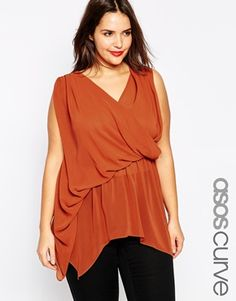 ASOS CURVE Wrap Top with Drape Front