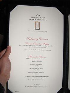 cruise menu Crown Princess Cruise Ship, Princess Cruises, Classic Caesar Salad, Stuffed Pasta Shells, Cocktails, Menu, Craft Cocktails, Menu Board Design, Cocktail
