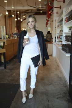 Coffee Run in casual gear - she looks super comfortable and polished