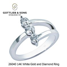 Looking for a special #Diamond ring with a #contemporary design? Consider this 3 stone shared prong 14K White Gold and Diamond Ring from #GottliebandSons. Visit your local #GottliebandSons retailer and ask for style number 26040.