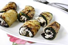 Grilled Zucchini Rolls with Herbed Goat Cheese & Kalamata Olives. Easy to make and delicious! For simpler prep, I might just grill slices cut on the diagonal, add a schmear of herbed cheese, and top with an olive slice. Could also use Foreman grill.
