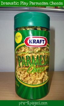 Quick and easy parmesan cheese container for your dramatic play center via www.pre-kpages.com #play #dramaticplay
