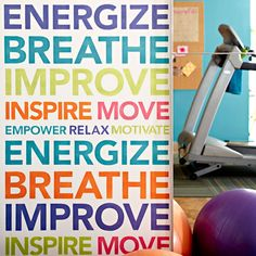 Perfect for your workout room! Multicolor stenciled word wall with printable stencil patterns via Lowes.