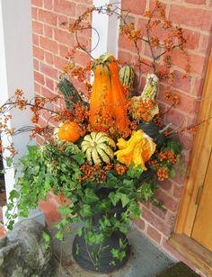 Halloween Fall Porch arrangement in black URN