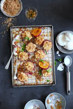 Baked Plums with Ginger Biscuit Crumble  Dessert  .  Styling : Luisa Farelo Photography : Henk Hattingh