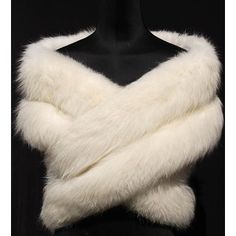 A white fox fur evening wrap or stole, circa 1960.  Before we became PETA-wise.  Beauteous. @polyvore.com