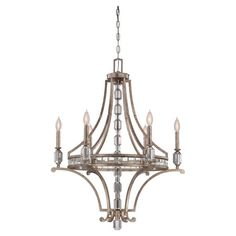 Showcasing a silver dust finish and crystal accents, this eye-catching chandelier casts a warm glow in your kitchen or dining room.