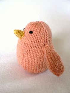 Handknit Papaya Song Bird Toy by TailsandSnouts on Etsy