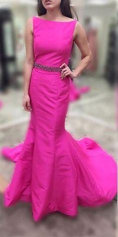 Beading Bateau Neck Mermaid Satin Prom Dresses
