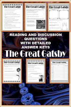 LOOKING FOR A COMPREHENSIVE ENGAGING ACTIVITY FOR HIGH SCHOOL STUDENTS STUDYING THE GREAT GATSBY? These study & discussion questions are a great way to check reading, assess understanding, & prompt vibrant & dynamic discussion among students in class or online. Activities are digital-enabled PDFs suitable for in class or online distance learning. All include detailed answer keys with textual evidence. Suitable for all levels of high school students or independent study. Engaging graphics. Classroom Resources, Teaching Resources, The Great Catsby, Reluctant Readers, English Activities, Critical Thinking Skills, Student Studying, Creative Activities, High School Students