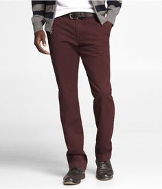 Express Mens Colored Chino Photographer Pant Maroon, W30 L30