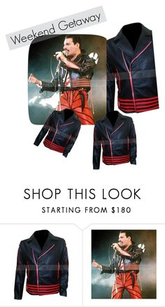 """Freddie Mercury Red And Black Leather Jacket"" by christina-wampler on Polyvore featuring men's fashion and menswear"