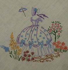 VINTAGE HAND EMBROIDERED TABLECLOTH  42  X 44  CRINOLINE LADY 1950s