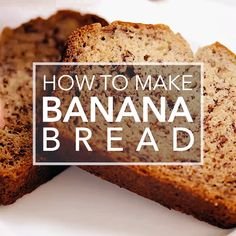 Moist and delicious banana bread recipe. Easy to make, no need for a mixer! Ripe bananas, butter, sugar, egg, vanilla, baking soda, and flour. #simplyrecipes #bananabread