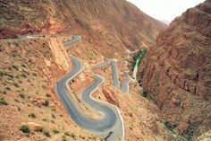 Dades Gorge Road, Morocco Located way up in the High Atlas Mountains at the edge of the Sahara Desert, the cleft features cliffs towering up to 1600 feet tall, with some of the roads going through fissures only 30 feet wide.