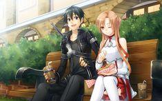 Anime Sword Art Online Asuna Yuuki Kirito Girl Boy Bench Wallpaper