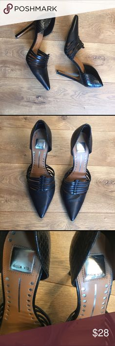 Dolce Vida Black Leather Heels Leather Dolce Vita Heels in great condition.  Heel area faux scale leather.  Please see pics for condition. Dolce Vita Shoes