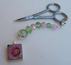 Beaded Scissor Fob or purse charm with pink by MixingItUpWithDBL, $14.00