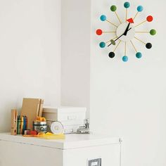 Ball Clock Multicoloured by George Nelson. #homedesign #clock #wall #accessory #time #themedroom#kidsroom #nursery #babyroom #office #children #colorful #decor