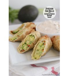 Avocado Egg Rolls with Chipotle Ranch Dipping Sauce  Egg Rolls 3 Avocados from Mexico 1/3 cup sundried tomatoes in oil, drained and chopped 3 tablespoons finely minced red onion 2 tablespoons minced cilantro 9 eggroll wrappers Vegetable oil, for frying Dipping Sauce