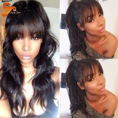 68.15$  Watch now  - Wet Wavy Lace Front Human Hair Wigs For Black Women Brazilian Virgin Hair Full Lace Wigs Glueless Full Lace Front Wig With Bangs