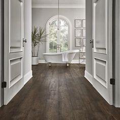 home ideas Rustic Smoked Chestnut Pergo Portfolio +WetProtect Laminate Flooring Rustic Laminate Flooring, Waterproof Laminate Flooring, Natural Wood Flooring, Rustic Hardwood Floors, Home Flooring, Dark Laminate Floors, Best Wood Flooring, Dark Flooring, Hardwood Floor Colors