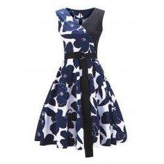 #trendsgal.com - #Trendsgal Floral Print Color Block Pin Up Dress - AdoreWe.com
