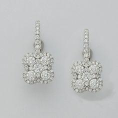 2.09 CT F SI1 Cluster Diamond Earrings in 18K White Gold-IDJ015365