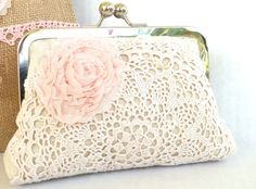 Maid of Honor clutch, blush pink doily purse, shabby chic, vintage wedding accessory, on Etsy, $41.00