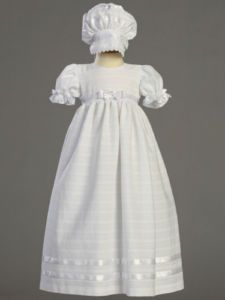 Infant Girls Embroidered Cotton Christening Baptism Gown Dress & Bonnet - Christening Gowns & Suits