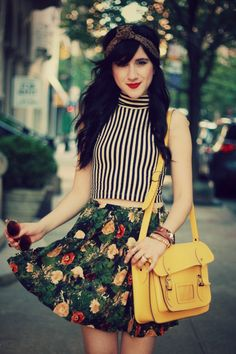 Stripes and florals are a great combination, especially when pulled together by a solid color.