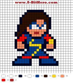 Kamala Kahn Ms. Marvel 8-Bit Perler Bead Pattern