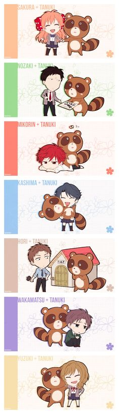 Gekkan Shoujo Nozaki-kun :: The cast + Tanuki...............Episode 9 where the word Tanuki lost all meaning