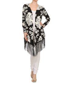 Look at this #zulilyfind! Black & White Damask Fringe Open Cardigan #zulilyfinds $12.99