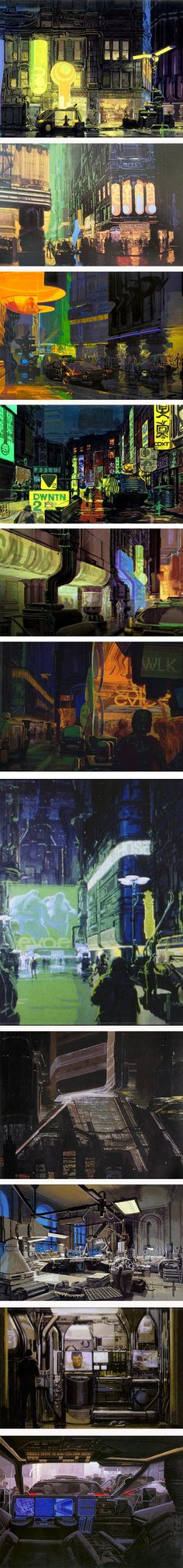 Syd Mead production paintings for Blade Runner