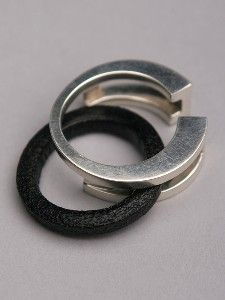 silver leather ring